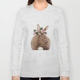 Bunny Tail, Baby Rabbit, Bunny With Flower Crown, Baby Animals Art Print By Synplus Long Sleeve T-shirt