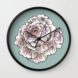 Pastel Peony Drawing Wall Clock