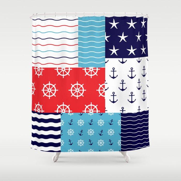 Beautiful Patch 10 (Nautical) Shower Curtain by patternsoflife