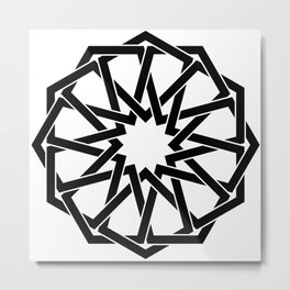 Islamic geometric art, arabic star motif in black and white Metal Print