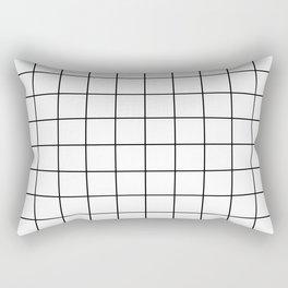 Black and White Thin Grid Graph Rectangular Pillow