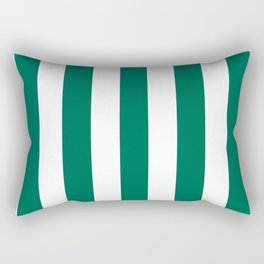 Bangladesh green - solid color - white vertical lines pattern Rectangular Pillow
