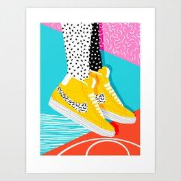 Kid You Not - memphis retro shoes fashion throwback 80s style trends minimalist art neon Art Print