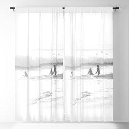 Surfing Three Girls Surfing Seashore Blackout Curtain