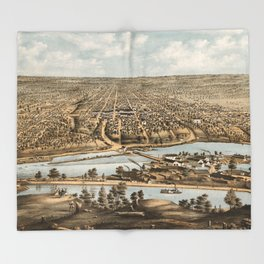 Vintage Pictorial Map of Appleton WI (1874) Throw Blanket