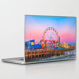 Santa Monica Pier, Sunset, Ferris Wheel, Sky, Pink, Colorful, Bright, Travel, California, Cali Laptop & iPad Skin