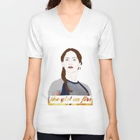 katniss V-neck T-shirts featuring Katniss Everdeen by raeuberstochter