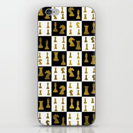 Chessboard and Gold Chess Pieces pattern iPhone Skin