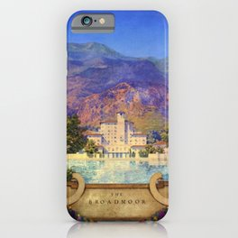 Broadmoor Hotel, Colorado Springs landscape by Maxfield Parrish iPhone Case