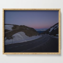 summit italy pass dolomites alps sunset snow serpentines color lines road Serving Tray