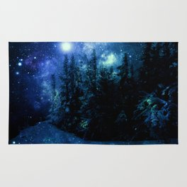 Galaxy Winter Forest Deep Blue Green Rug
