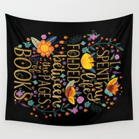 bookworm Wall Tapestries featuring Folded Between the Pages of Books - Floral Black by Evie Seo