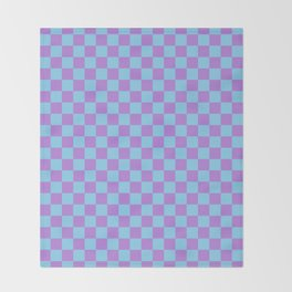 Lavender Violet and Baby Blue Checkerboard Throw Blanket