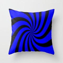 Spiral (Black & Blue Pattern) Throw Pillow