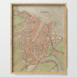 Vintage map of Amsterdam (1560) Serving Tray