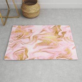 Swirl Pink Marble Pattern With Gold Glitter Veins Rug
