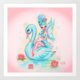 Blue Swan Fairy Art Print