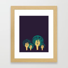 Adorned Salad Forest in Midnight Blue, Teal and Yellow  Framed Art Print