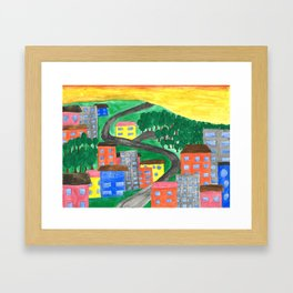 The Town On A Hill Framed Art Print