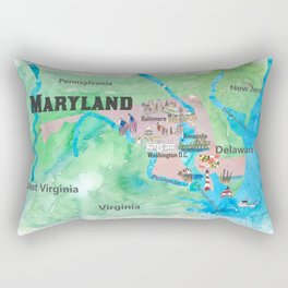 USA Maryland State Travel Poster Map with Touristic Highlights Rectangular Pillow