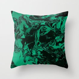 Green and black Marble texture acrylic Liquid paint art Throw Pillow