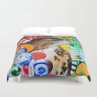 hawk Duvet Covers featuring Psychedelic Hawk by John Turck