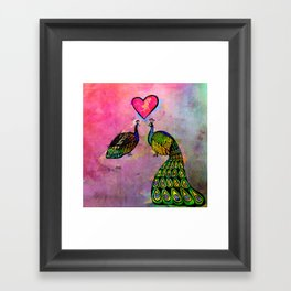 Love Birds Fine Art Print, Peacocks, Pink Framed Art Print