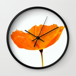 One And Only - Orange Poppy White Background #decor #society6#buyart Wall Clock