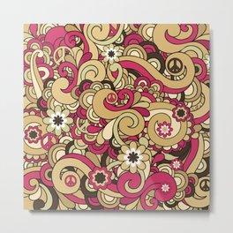 Vintage Hippie Swirl Pattern Metal Print