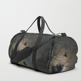 Crows Lit By A Full Moon Duffle Bag