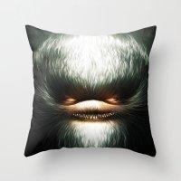 evil Throw Pillows featuring Little Evil by Dr. Lukas Brezak