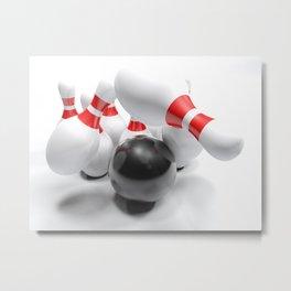 Bowling bowl striking the pins - 3D rendering Metal Print