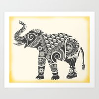 ornate elephant Art Prints featuring Elephant by famenxt
