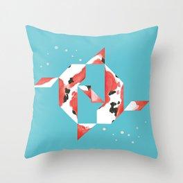 Tangram Koi Turqoise Throw Pillow