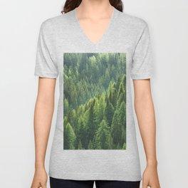 Pine tree forest in the morning fog Unisex V-Neck
