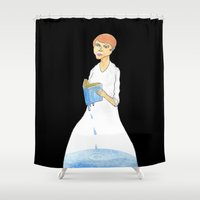 murakami Shower Curtains featuring Reader by gunberk