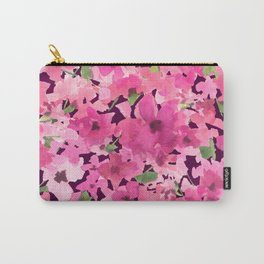 Rosy Pink Field Flowers Carry-All Pouch