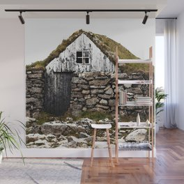 Watercolor Architecture, Icelandic Turf House 02 Wall Mural