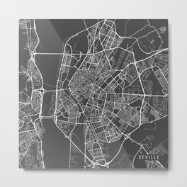 Seville Map, Spain - Gray Metal Print