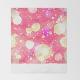 Girly Pink & Vintage Yellow Sparkly Bokeh Pattern Throw Blanket