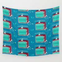 tv Wall Tapestries featuring Television (aqua lightning) by The Wallpaper Files