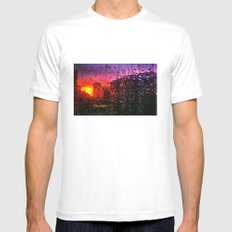 Sunset through water droplets MEDIUM White Mens Fitted Tee