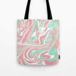 Elegant pink green abstract watercolor marble Tote Bag
