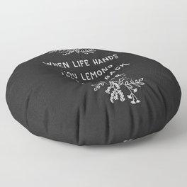 When Life Hands You Lemons BW Floor Pillow