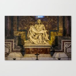 La Pieta Sculpted by Michelangelo photographed at St-Peter's Basilica Canvas Print