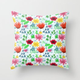 Campo fiorito acquarellato Throw Pillow