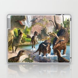 Jurassic dinosaurs in the river Laptop & iPad Skin