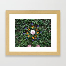 Green Beans And Cherries Mandalla Framed Art Print