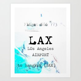 LAX to BKK Art Print