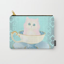 Pink Teacup Kitten Carry-All Pouch